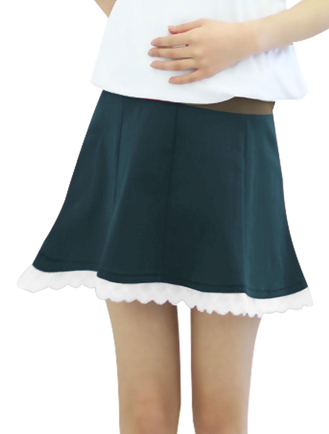Maternity Elastic Button Adjust Waist Crochet Trim Skirt Dark Teal XS