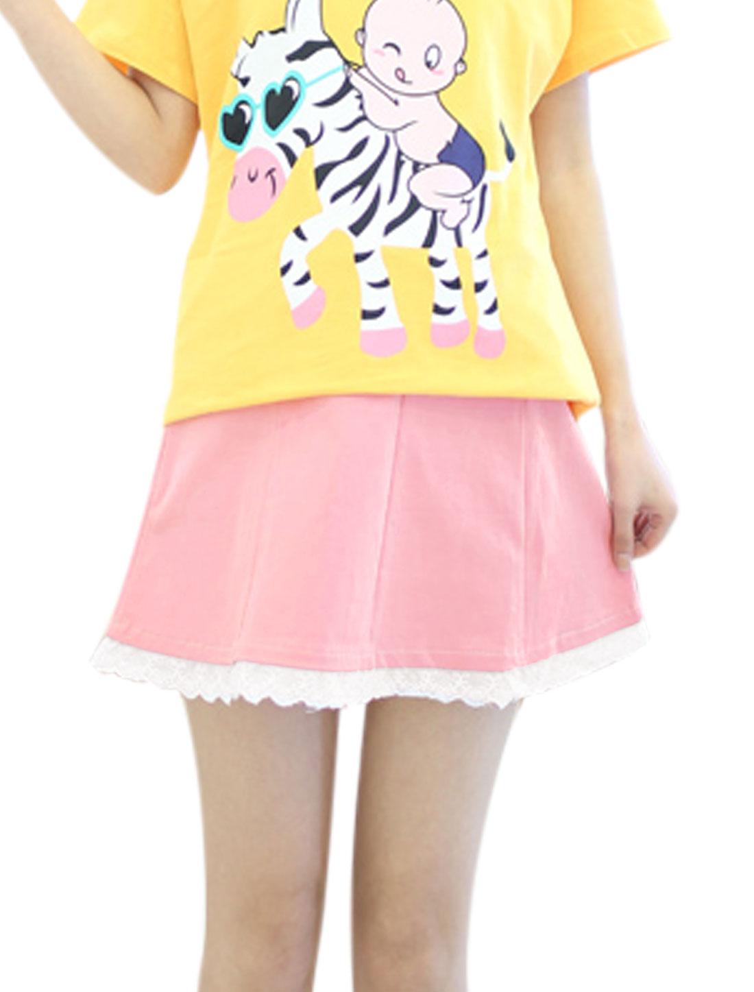 Motherhood Drawstring Button Adjust Waist Leisure Skirt Pink XS