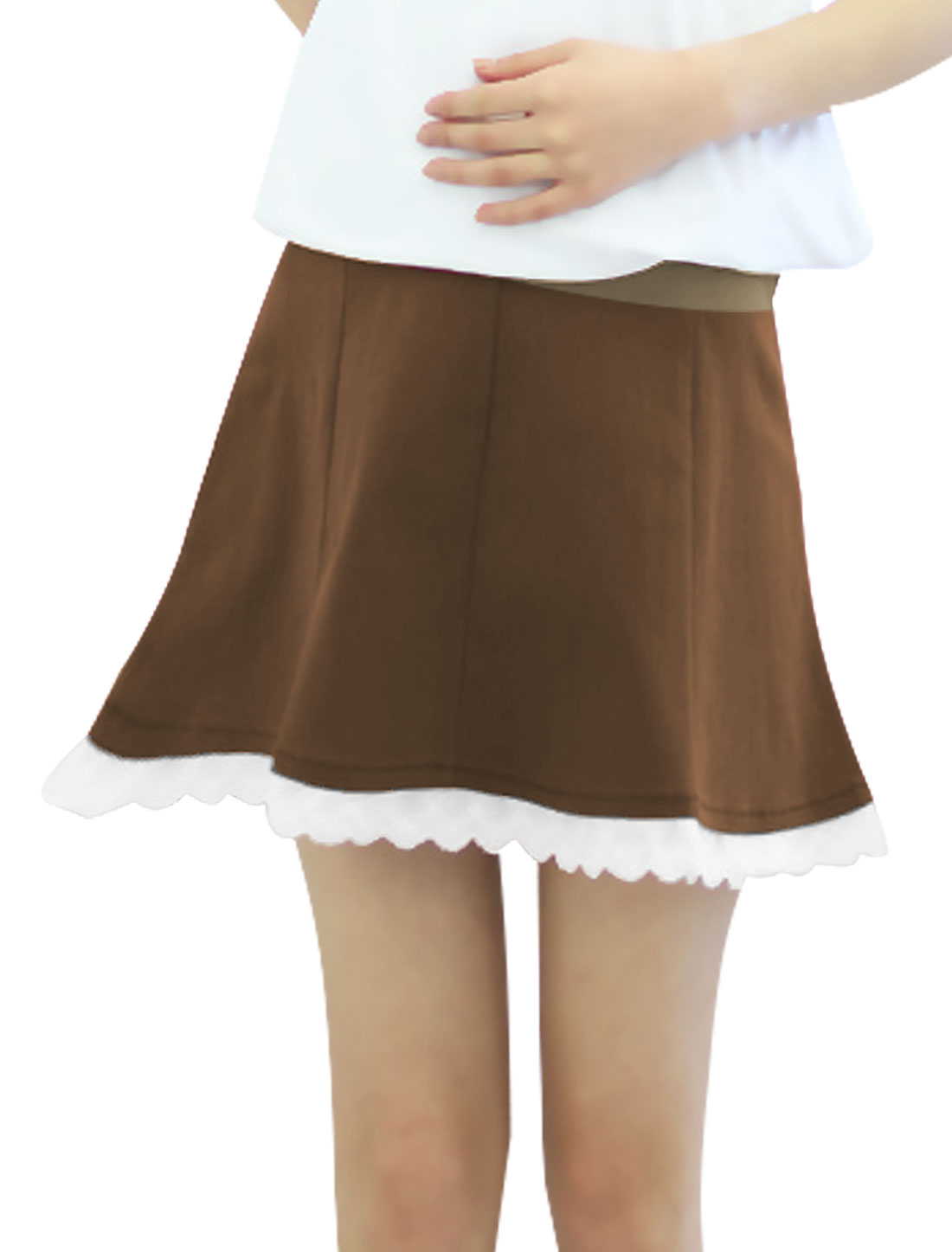 Motherhood Rib Knit Panel Crochet Trim Skirt Brown XS