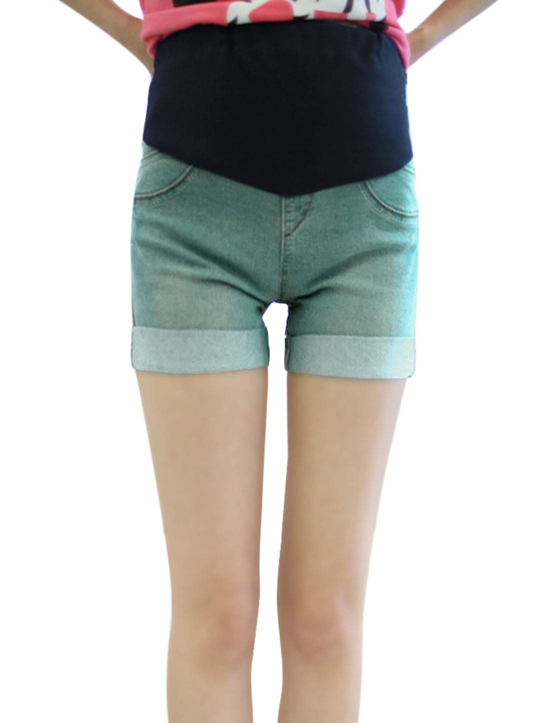 Maternity Elastic Waistband Rib Knit Panel Denim Shorts Blue XS