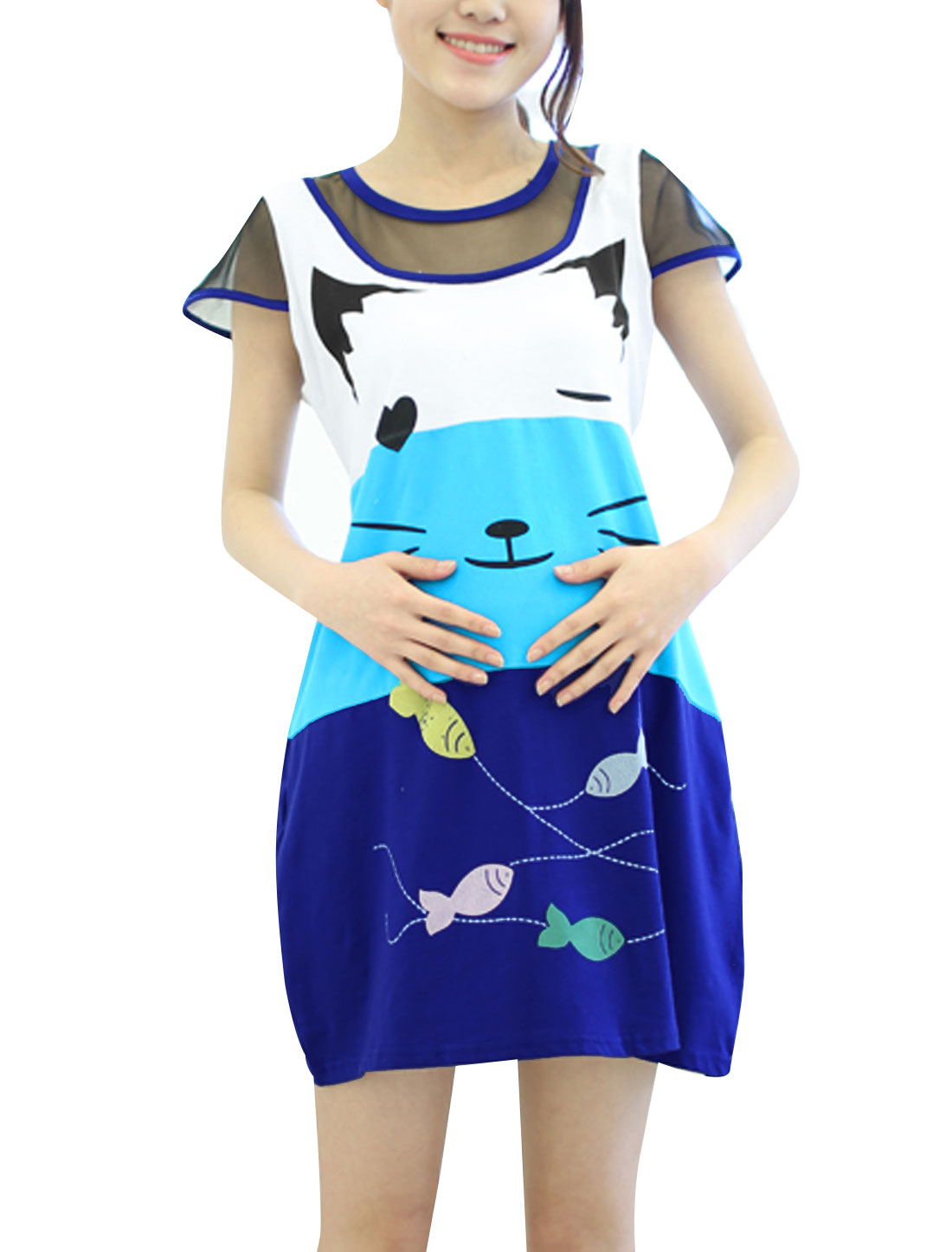 Maternity Round Neck Mesh Panel Cat Fish Print Self Tie Dress Blue M