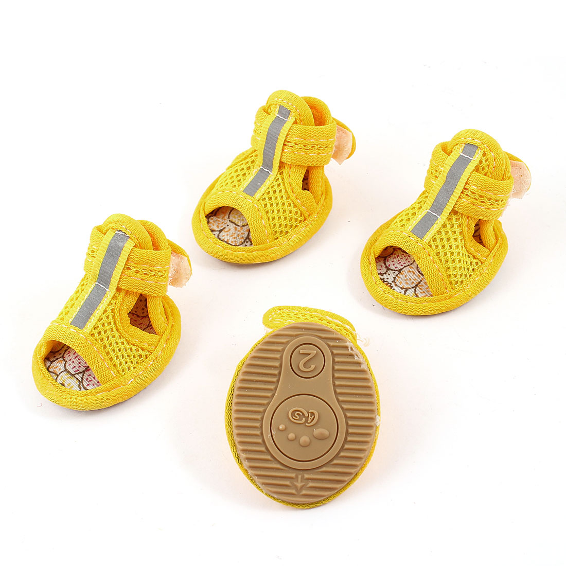 2 Pair Hook Loop Closure Pet Poodle Doggy Mesh Shoes Boots Booties Yellow Size XS