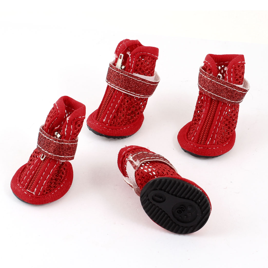 2 Pair Hook Loop Closure Pet Yorkie Doggie Mesh Shoes Boots Booties Red Size XXS