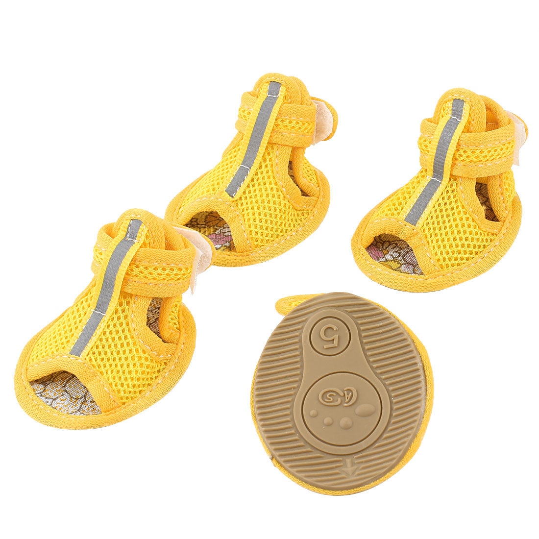 2 Pair Hook Loop Closure Pet Yorkie Dog Netty Shoes Boots Booties Yellow Size S