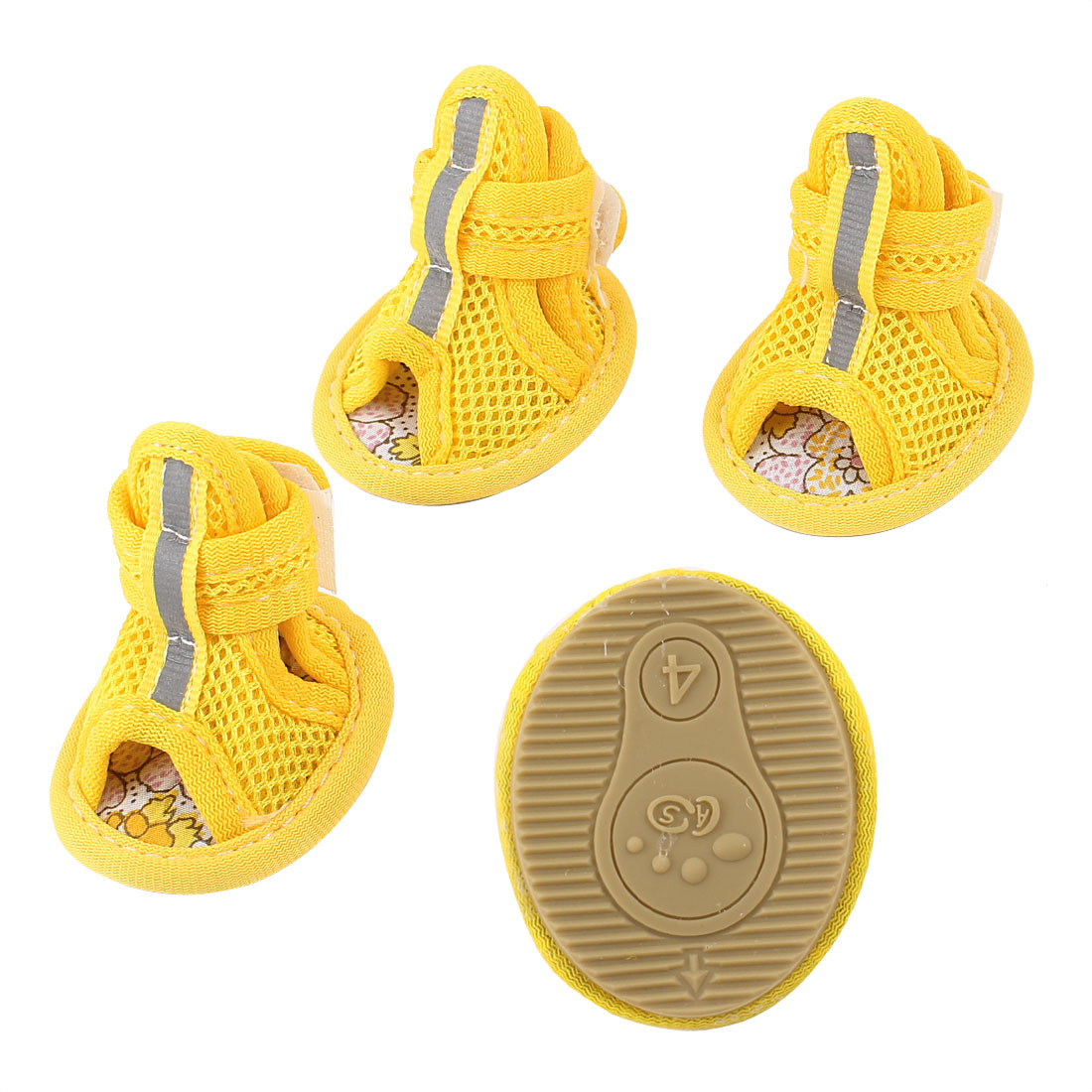 2 Pair Hook Look Closure Pet Poodle Puppy Mesh Shoes Boots Booties Yellow Size XS