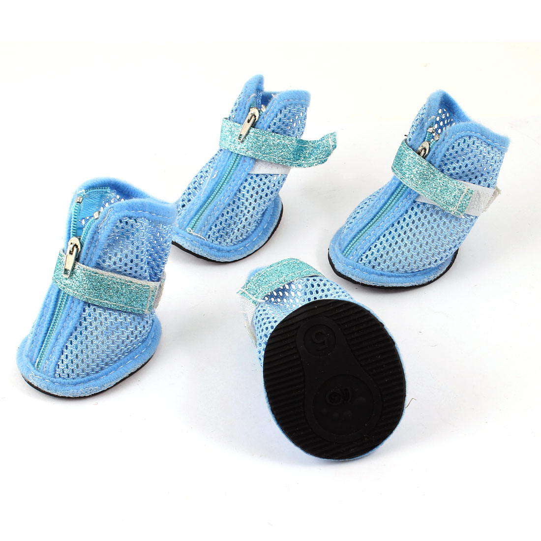 2 Pair Hook Loop Closure Pet Yorkie Doggy Mesh Shoes Boots Booties Blue Size XS