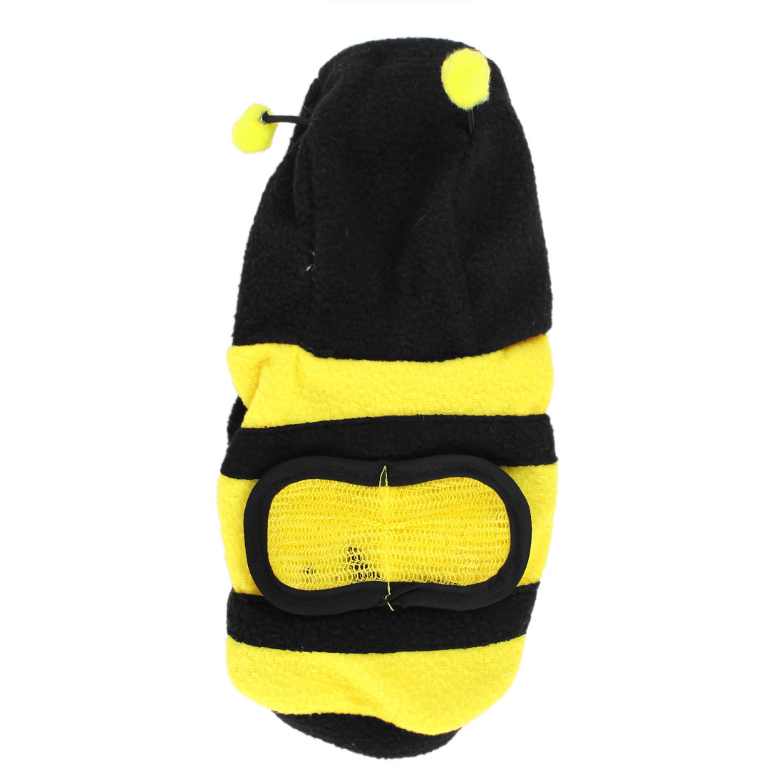 Yellow Black Bee Shaped Single Breasted Hoodie Pet Dog Doggy Coat Apparel Size S
