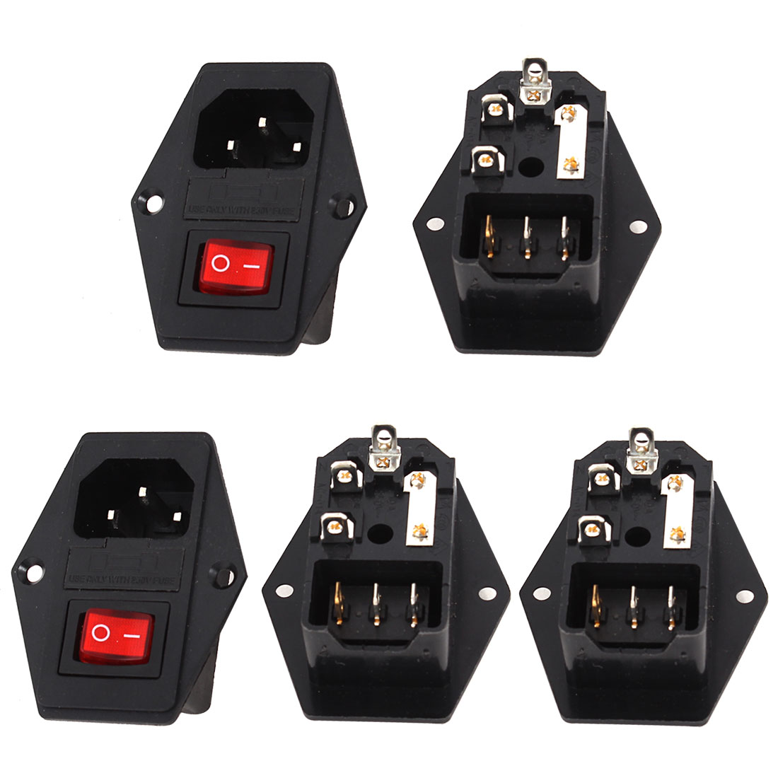 5pcs IEC320 C14 3 Terminals Switch Inlet Plug Fuse Holder Male Power Socket AC 10A 250V