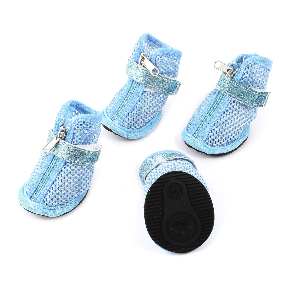 2 Pair Hook Loop Closure Pet Yorkie Doggy Netty Shoes Boots Booties Blue Size XS
