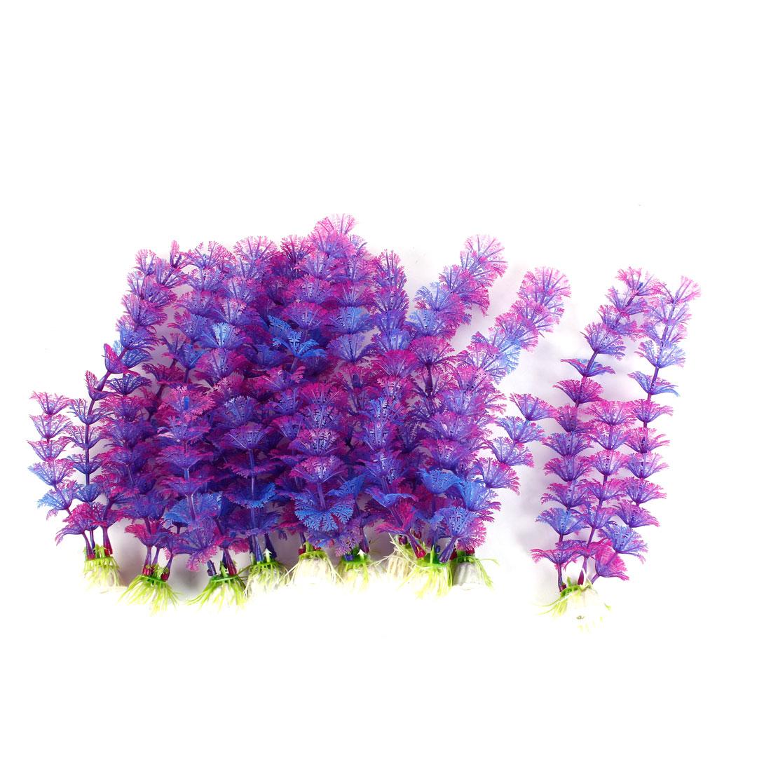 "Aquarium Tank Plastic Grass Plant Decor Purple 8.8"" Height 10Pcs"