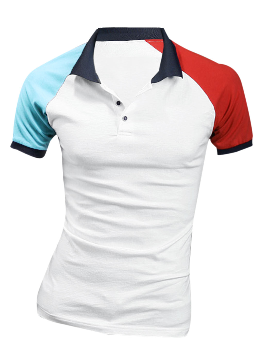 Men Point Collar Short Raglan Sleeve Polo Shirt White Red M
