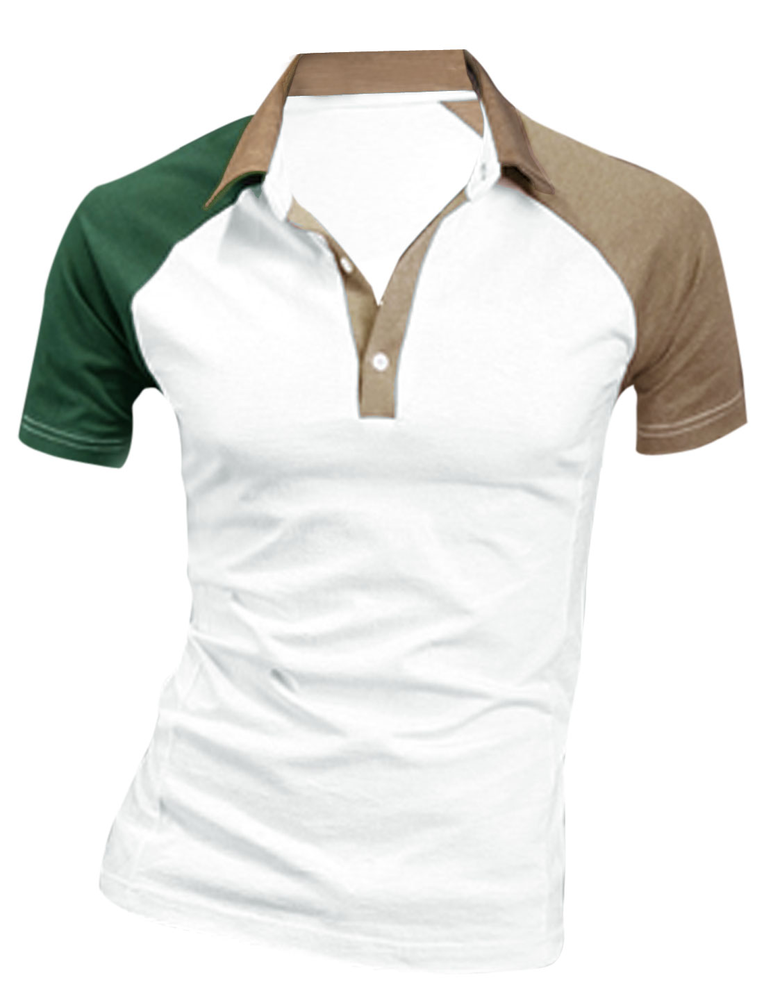 Men Short Raglan Sleeve Colorblock Polo Shirt White Dark Beige M