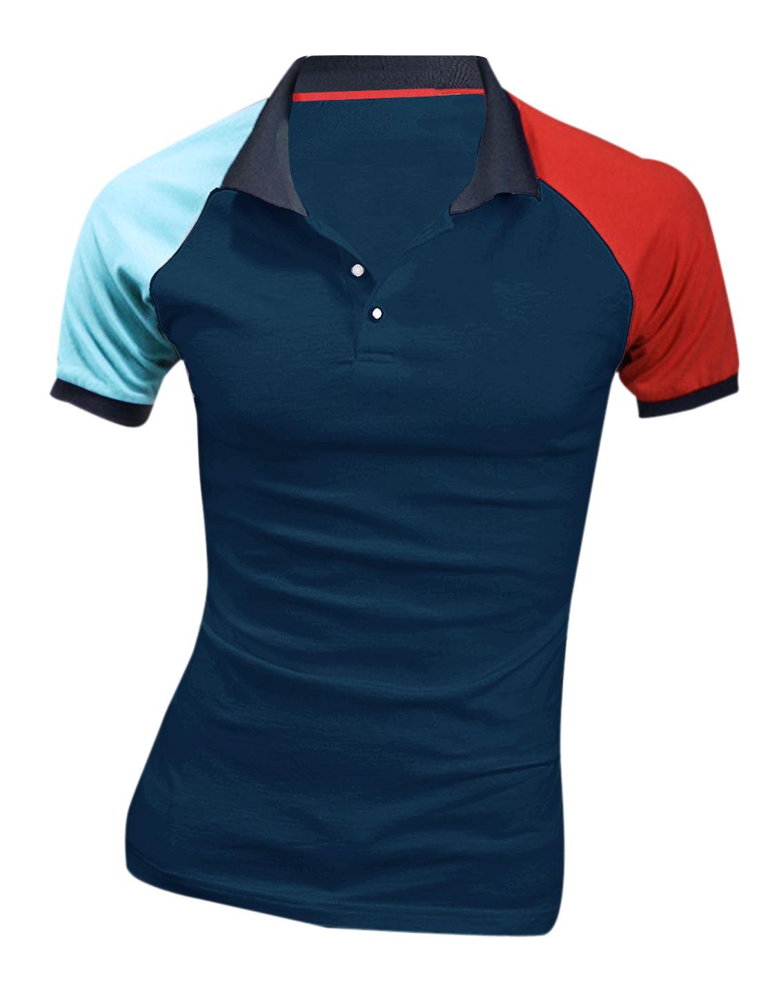 Men NEW Short Raglan Sleeve Colorblock Polo Shirt Red Navy Blue M