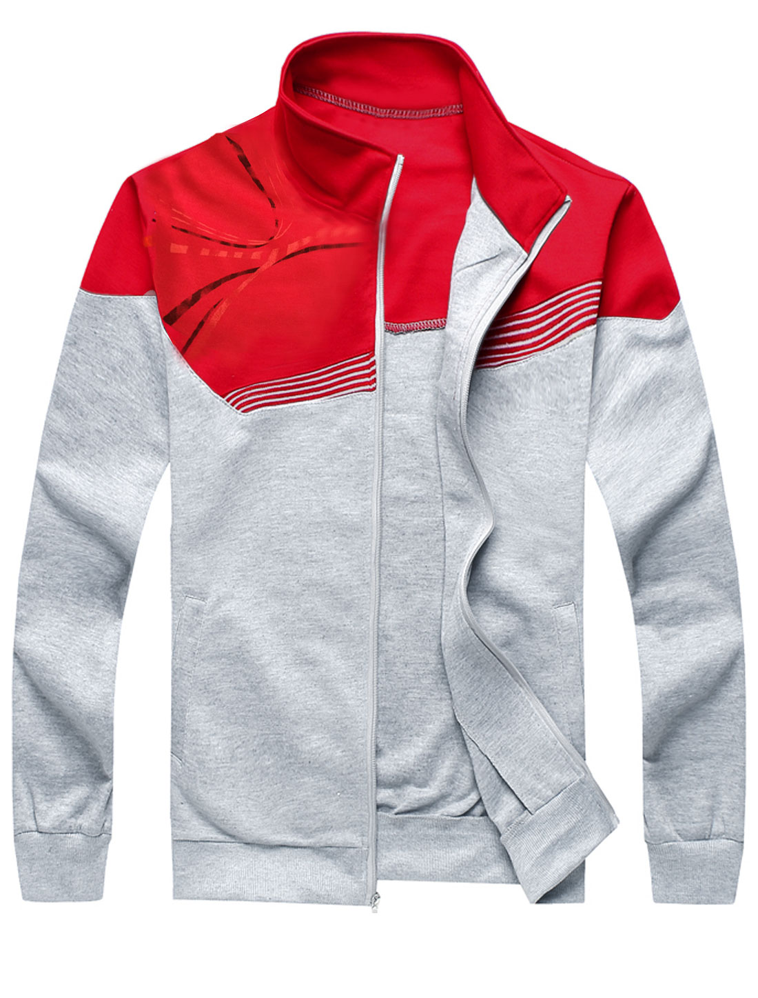 Man Stand Collar Long Sleeve Splicing Sweatshirt w Slant Pockets Elastic Waist Pants Red M