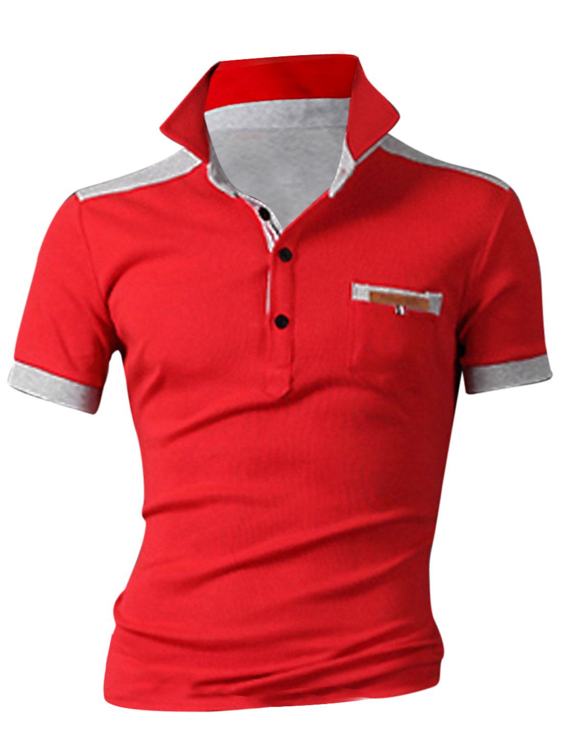 Men Convertible Collar Short Sleeve Colorblock Polo Shirt Red M