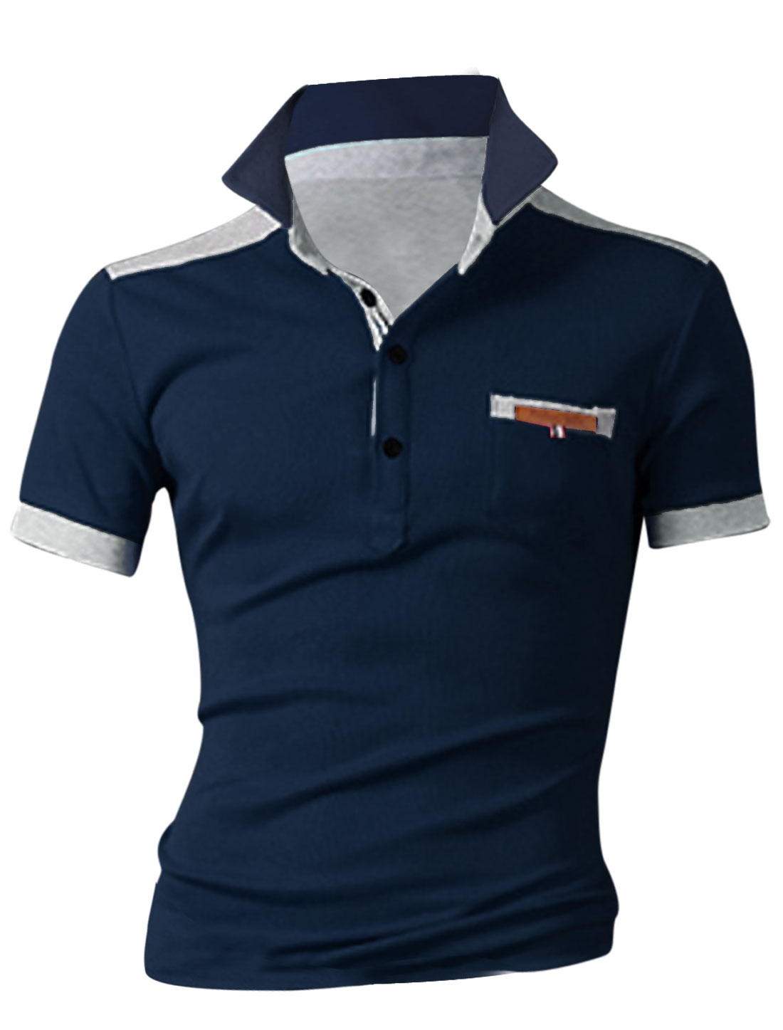 Men Convertible Collar Ribbed Cuffs Polo Shirt Navy Blue M