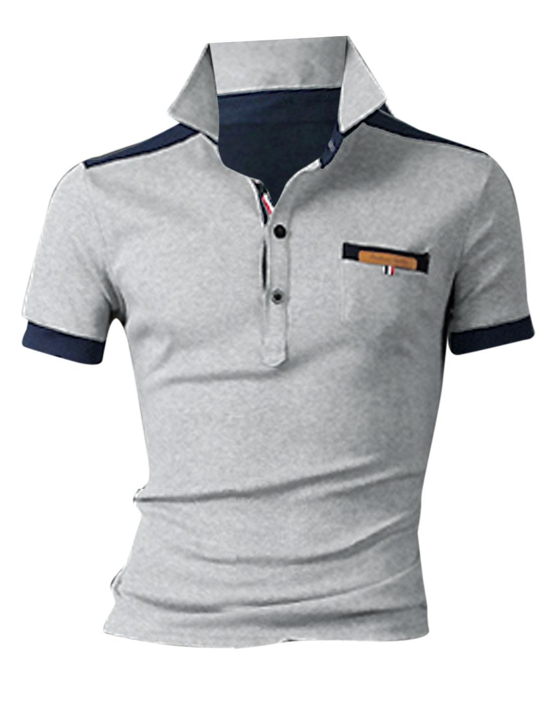 Men Convertible Collar Short Sleeve Two Tone Polo Shirt Gray M