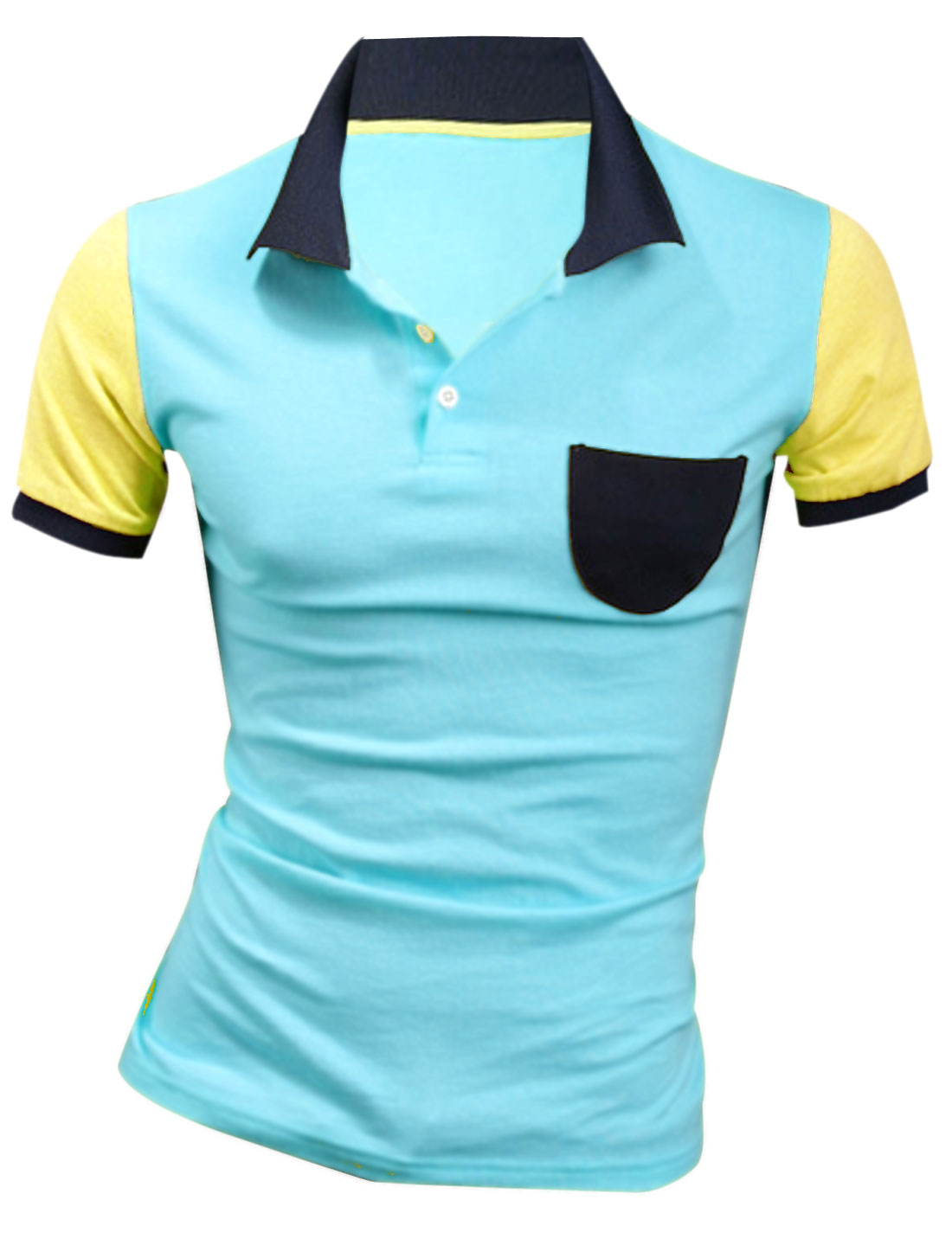 Men Short Sleeve Chest Pocket Contrast Color Polo Shirt Aqua M