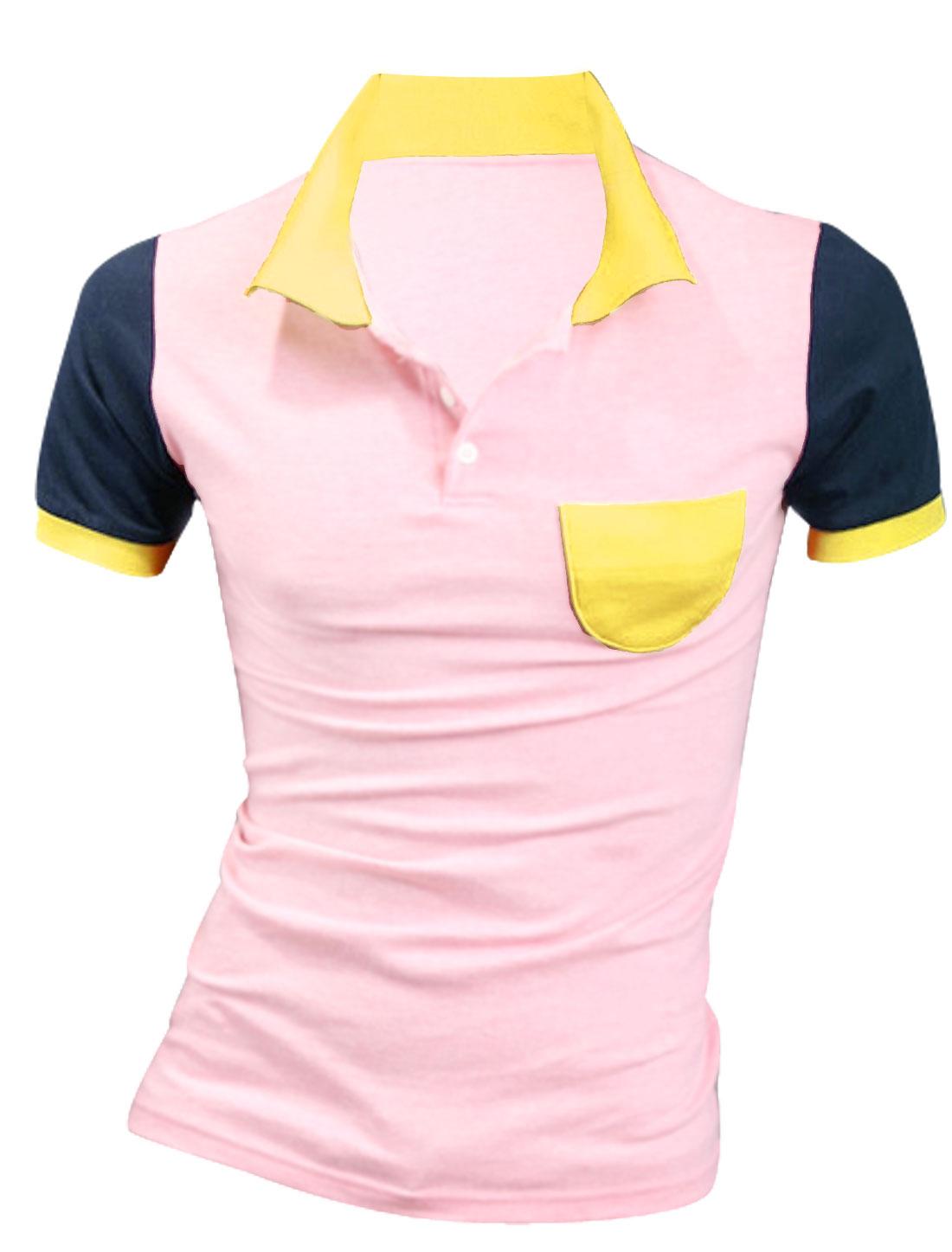 Men Short Sleeve Chest Pocket Contrast Color Polo Shirt Pink M
