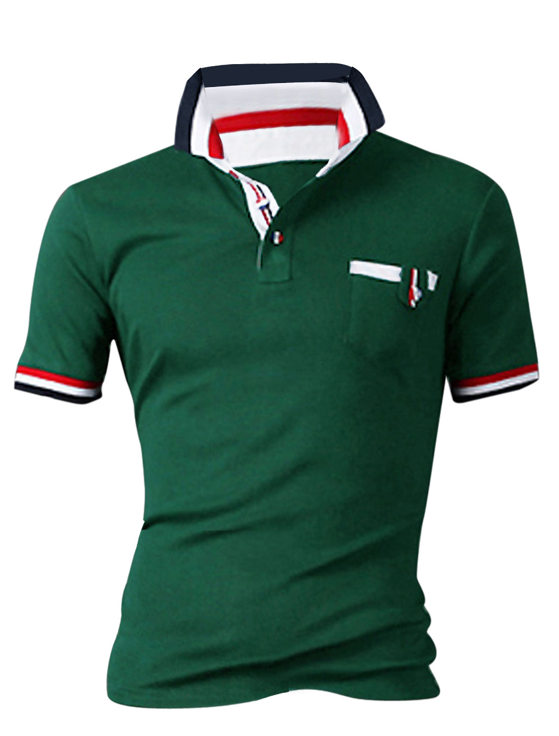 Men Point Collar Short Sleeve Colorblock Detail Polo Shirt Dusty Green M