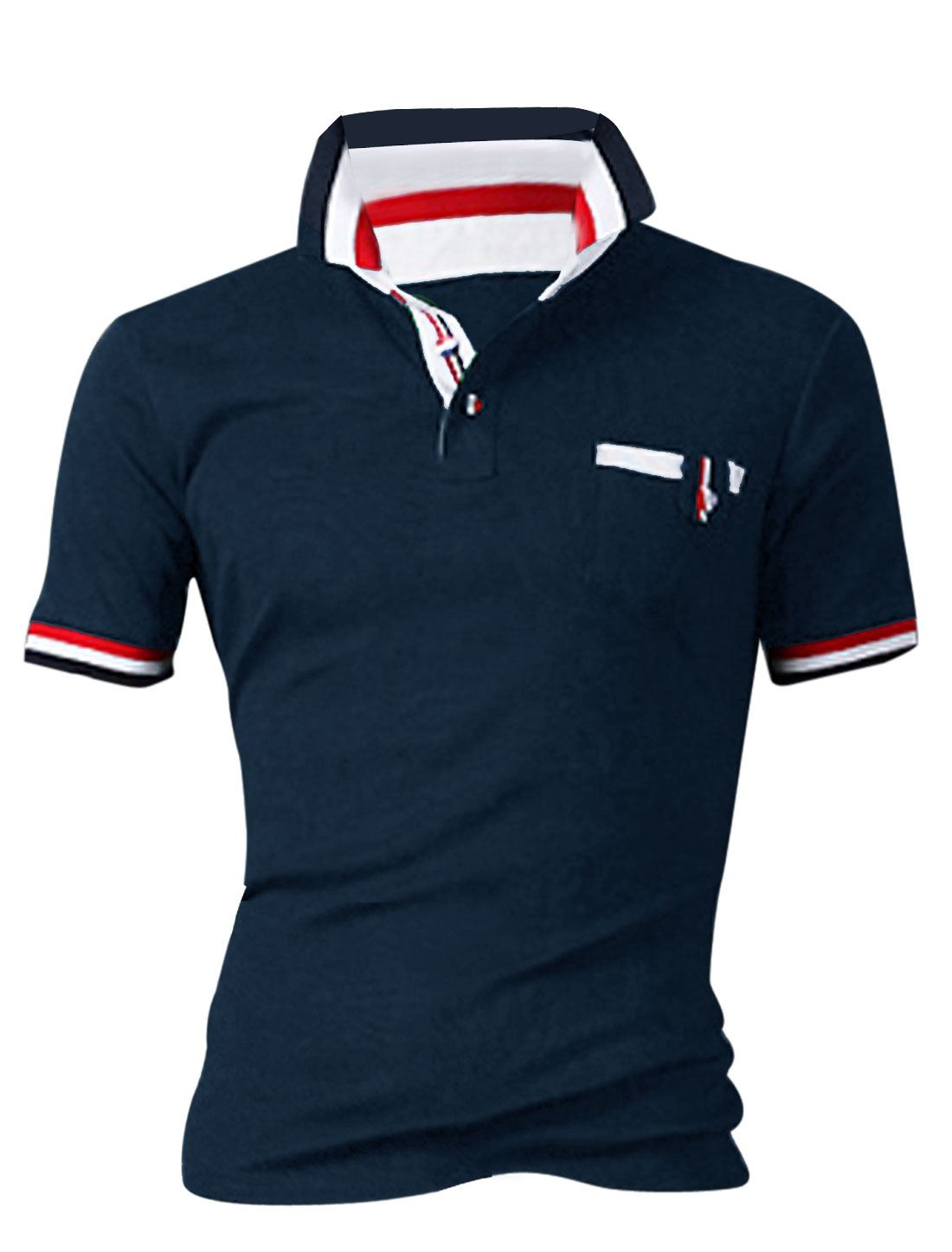 Men Point Collar Colorblock Detail Polo Shirt Navy Blue M