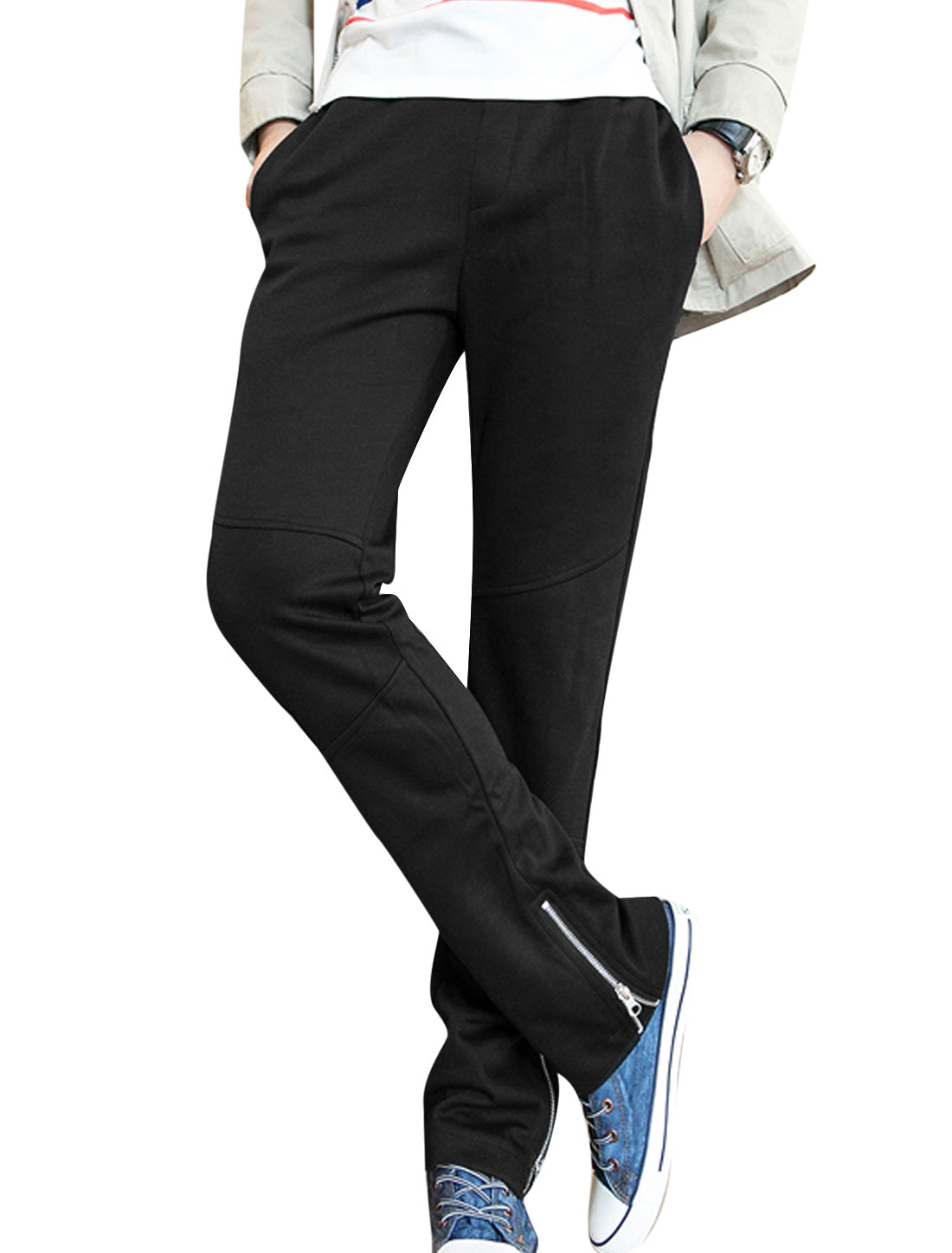 Man Elastic Waist Front Pockets Zipper Embellished Sport Pants Black W30