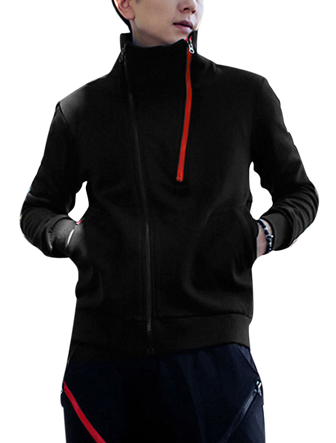 Man Zip Up Convertible Collar Sweatshirt w Elastic Drawstring Waist Pants Black S