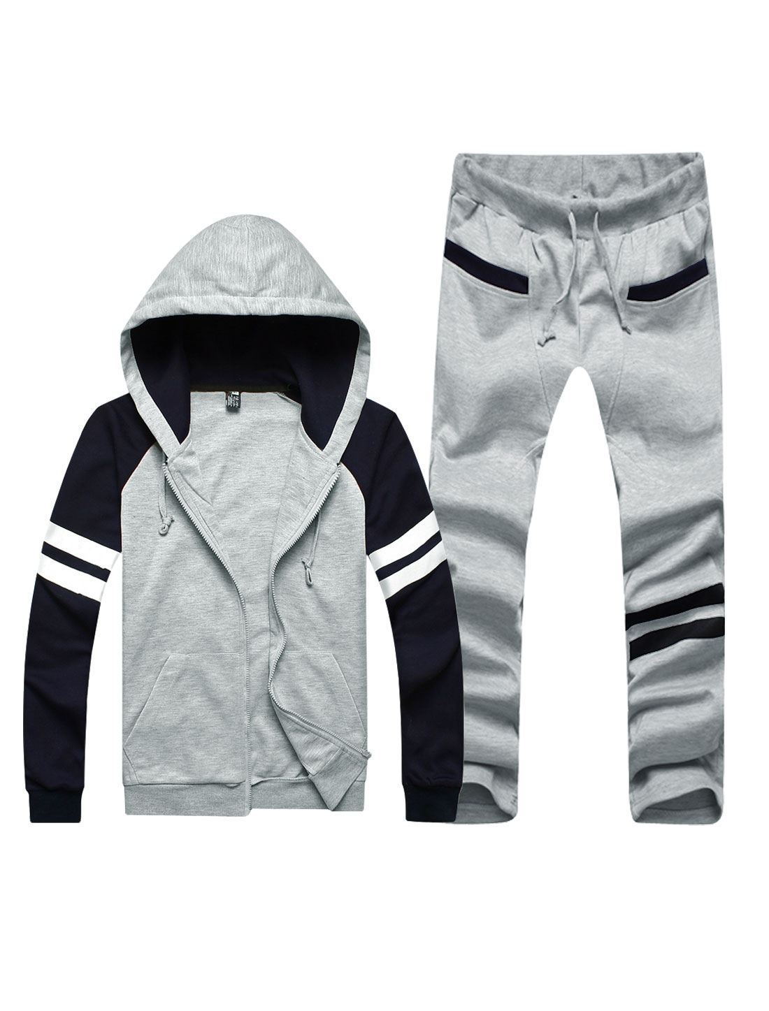 Men Hooded Long Raglan Sleeve Sweatshirt w Stripes Detail Pants Light Gray S