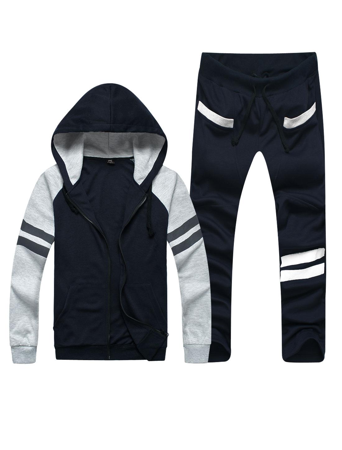 Men Hooded Zip Fly Long Sleeve Sweatshirt w Stripes Detail Pants Navy Blue S