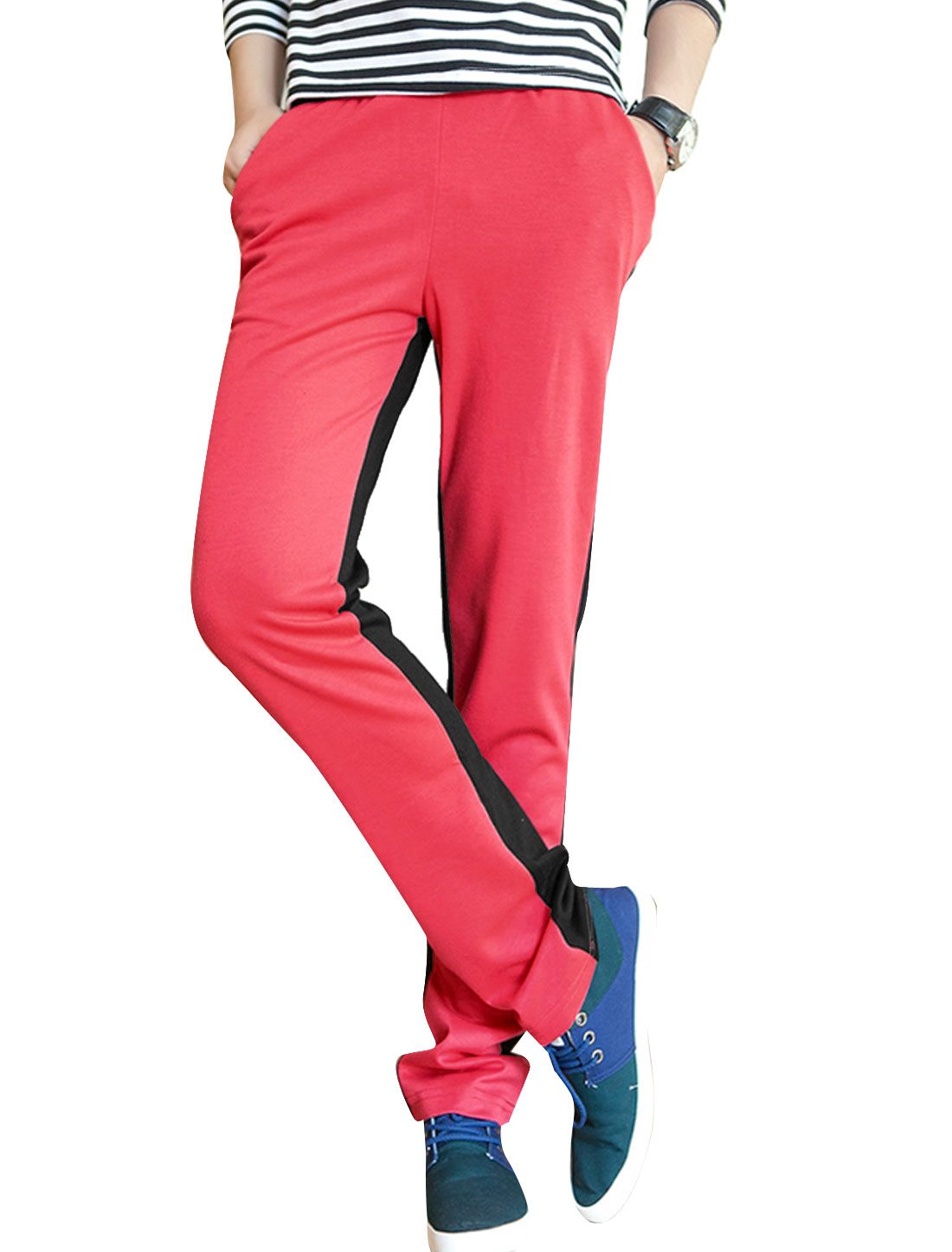 Men Stretchy Drawstring Waist Colorblock Sport Pants Watermelon Red W30