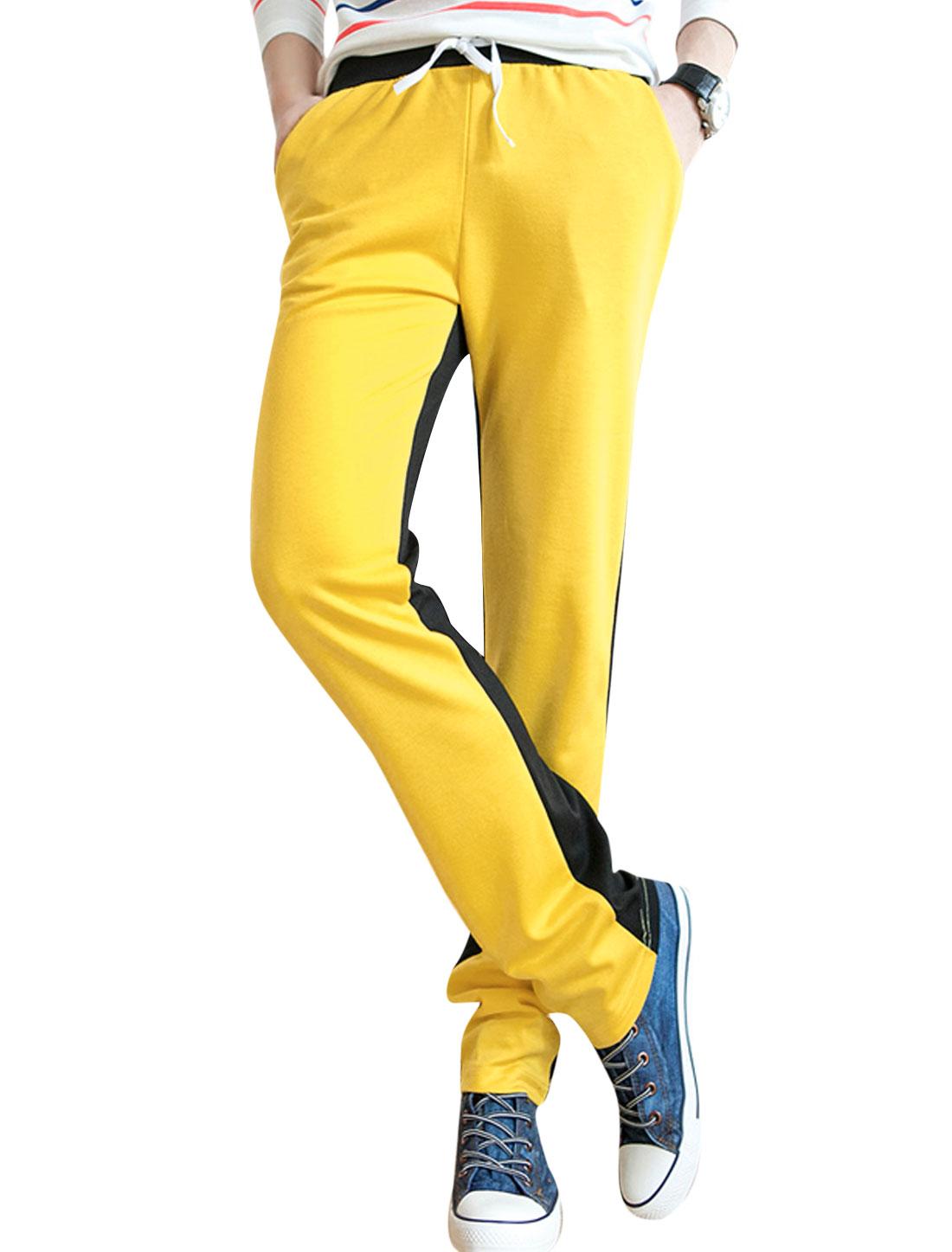 Men Double Slant Pockets Front Colorblock Sport Pants Yellow W30