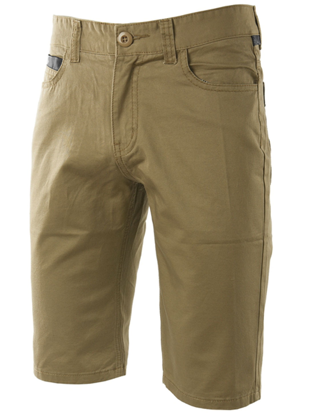 Man Mid Rise Front Hip Pockets Zip Fly Leather Trim Chino Shorts Khaki W32