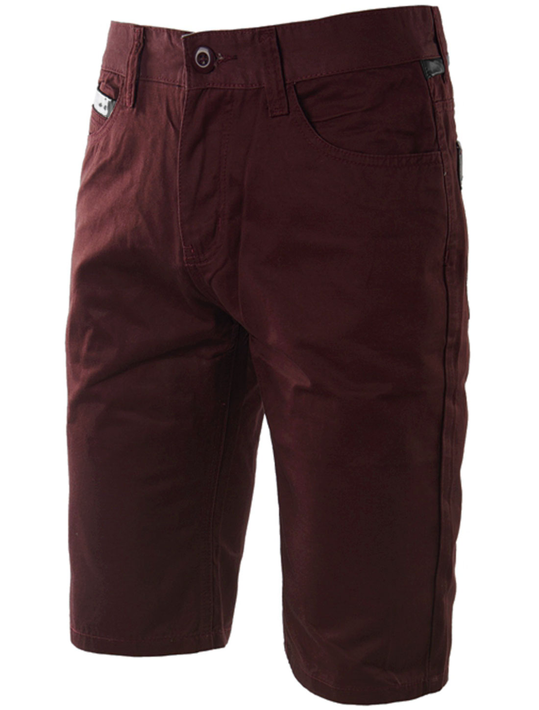 Man's Zip Fly Mid Rise Belt Loop Summer Fit Chino Shorts Burgundy W32