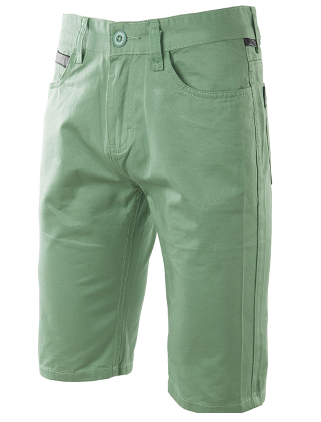 Man's Belt Loop Leather Trim Mid Rise Chino Shorts Pea Green W34