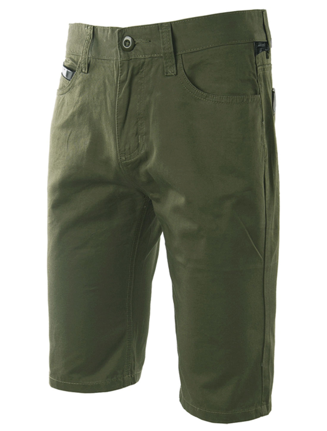 Man's Mid Rise Single Button Closure Zip Fly Casual Shorts Army Green W34