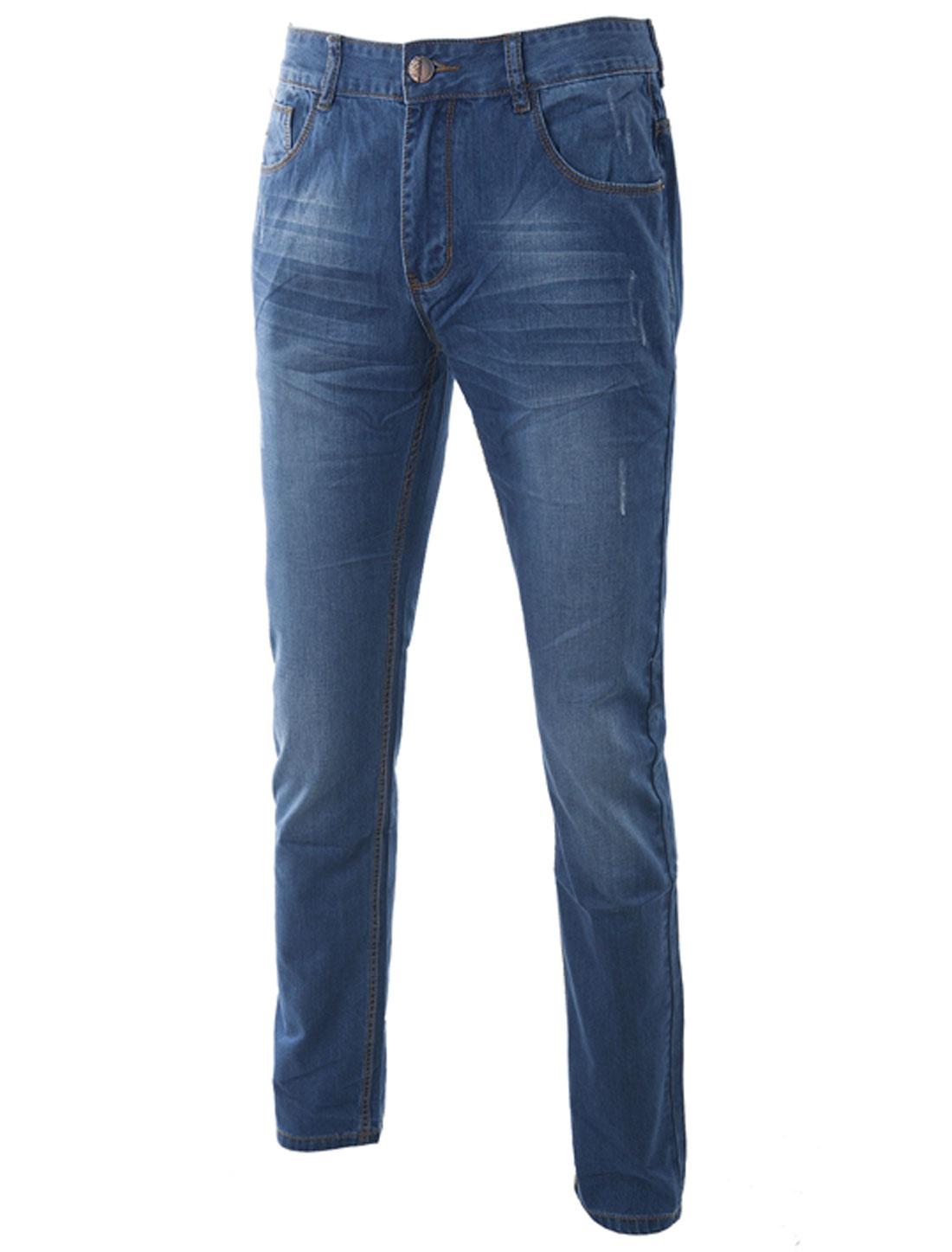 Men's Mid Rise Zip Fly Single Button Closure Denim Pants Dark Blue W34