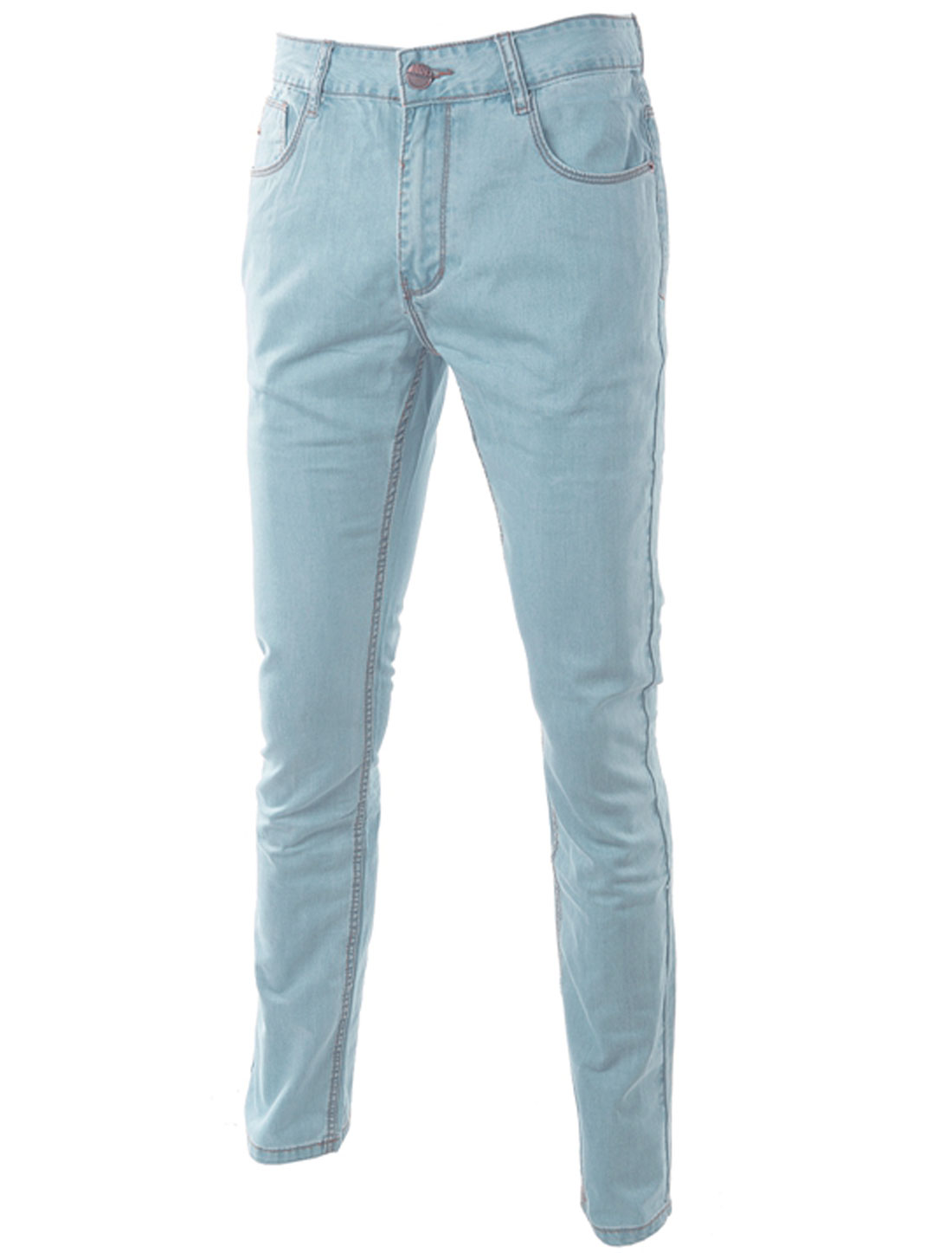 Man Front Hip Pockets Zip Fly Single Button Closure Jeans Light Blue W34