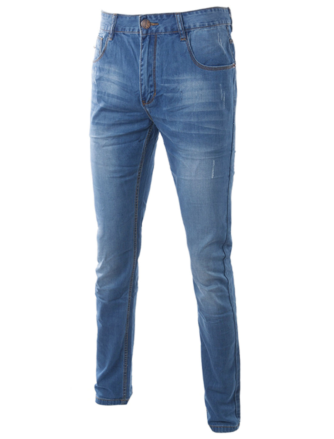 Hip Pockets Zip Fly Belt Loop Denim Pants for Man Sky Blue W34