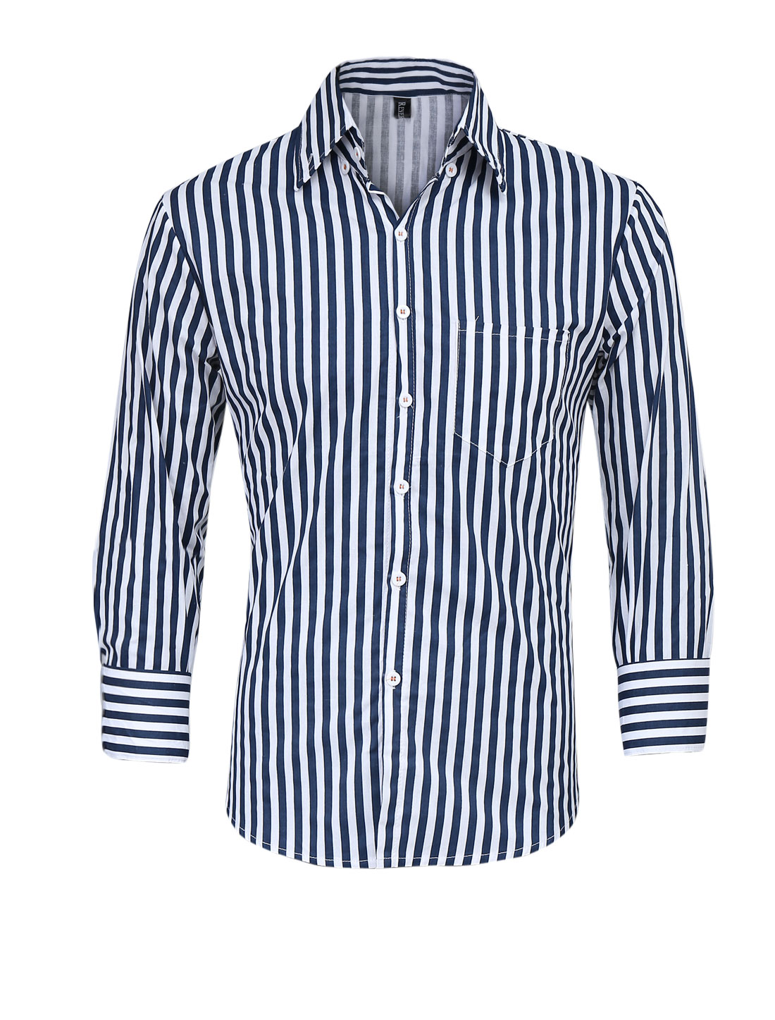 Men Long Sleeve Vertical Stripes Pattern Button Down Top Shirt Navy Blue M