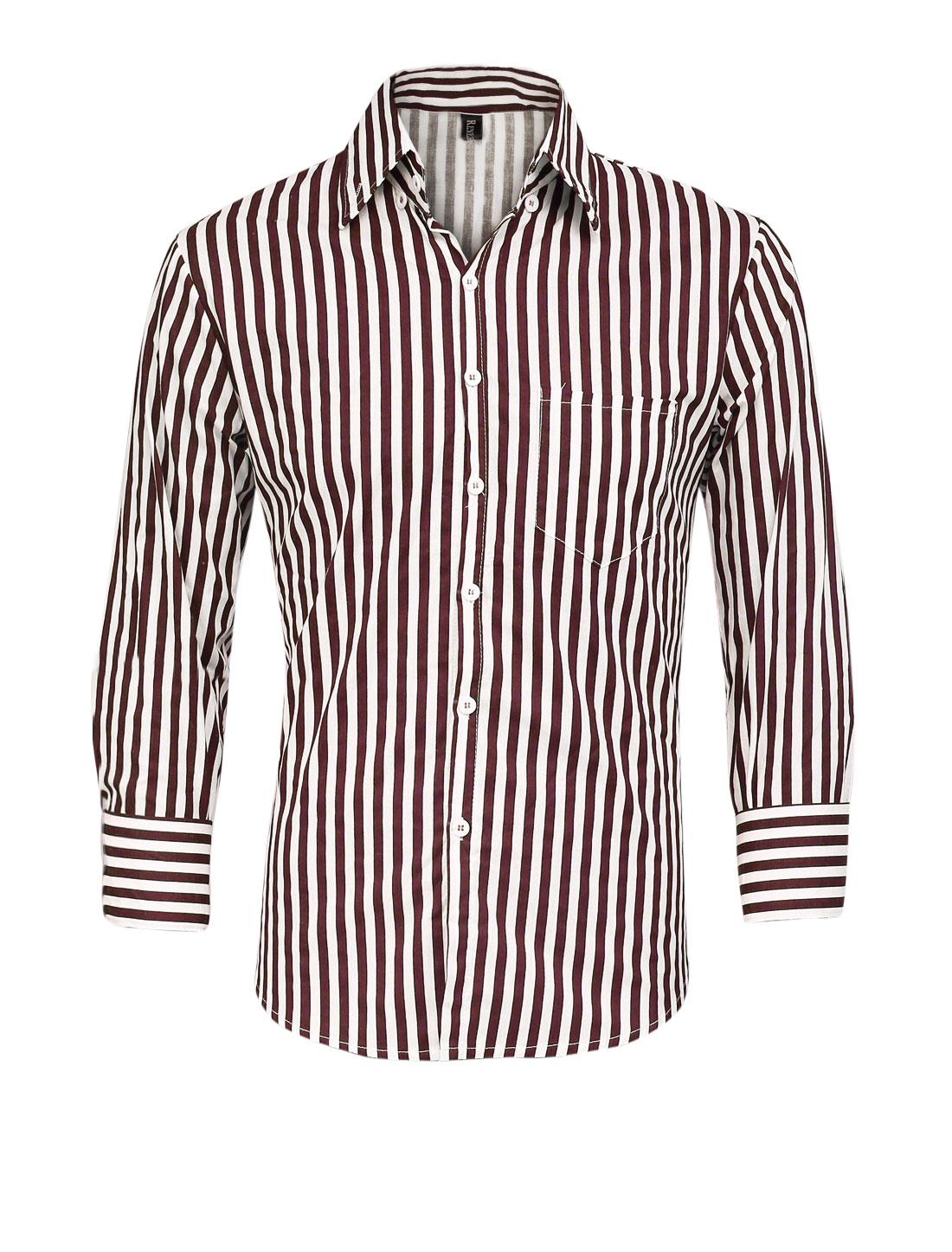 Men Breast Pocket Vertical Stripes Pattern Button Down Shirt Burgundy M