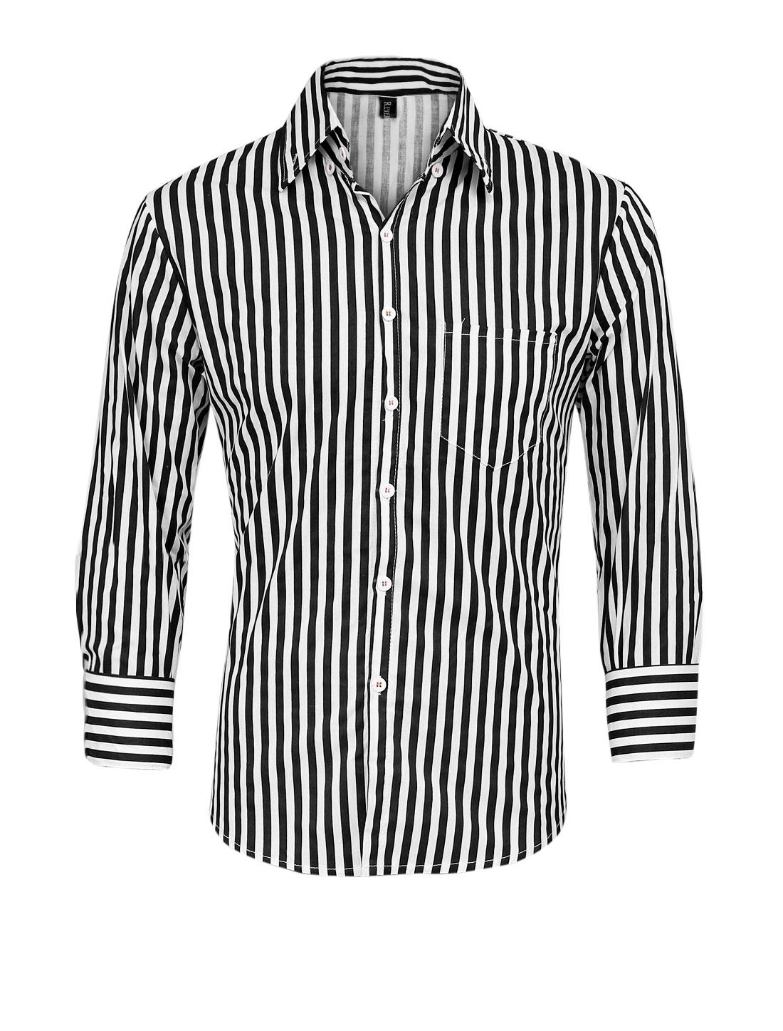 Men Buttons Cuffs Vertical Stripes Pattern Slim Fit Shirt Black M