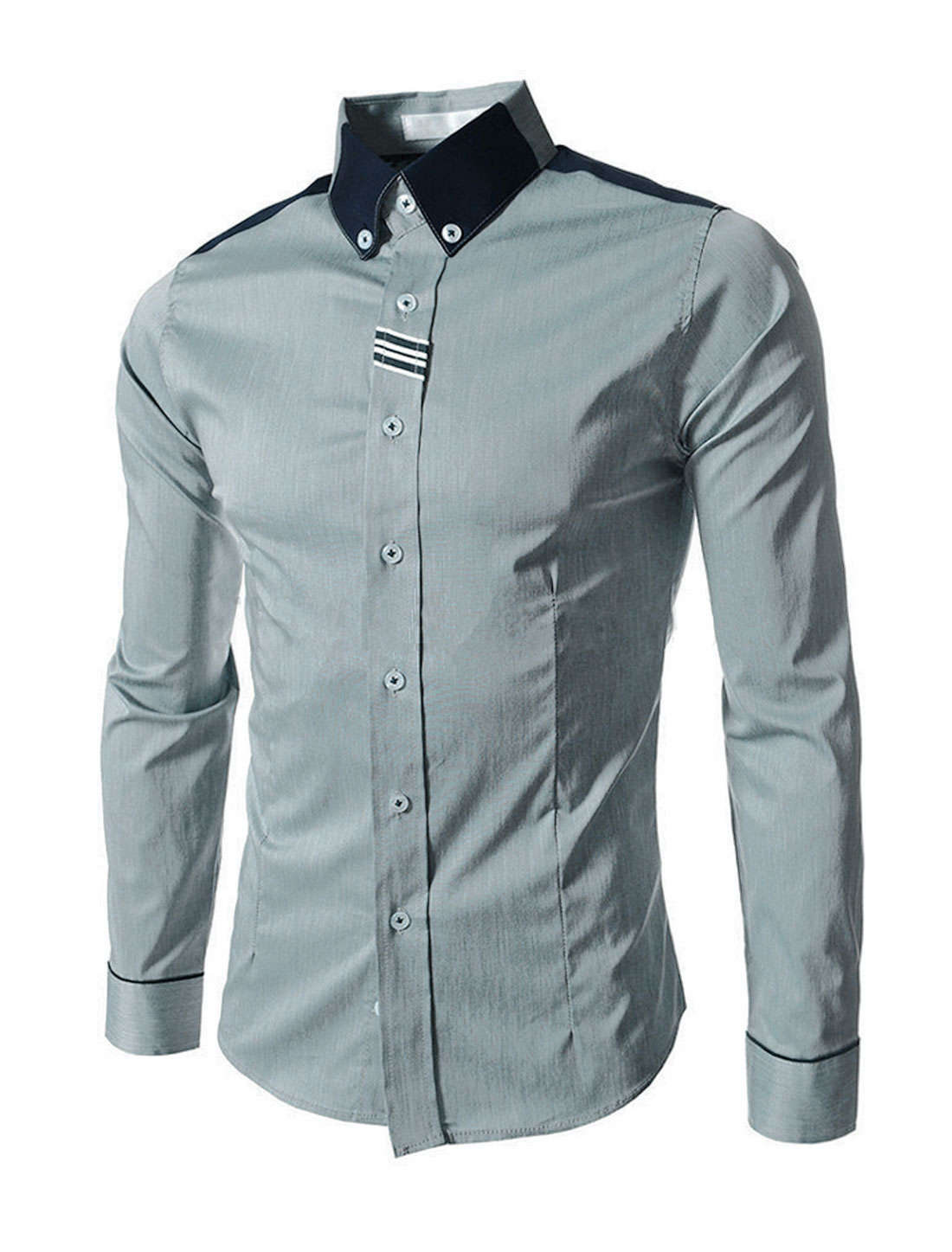 Men Single Breasted Panel Buttons Cuffs Button Down Shirt Light Gray M