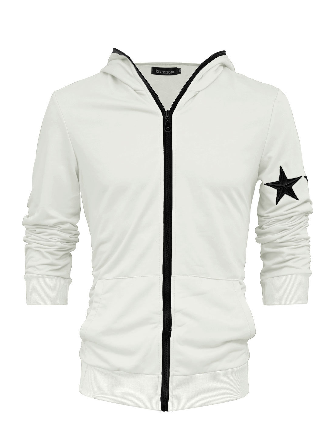Men Trendy Zip Up Stars Applique Long Sleeve Thin Hooded Jacket Light Gray M
