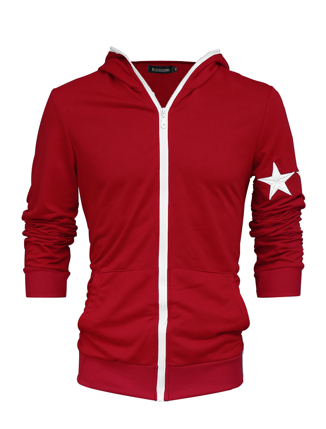 Men Trendy Zip Up Stars Applique Kangaroo Pockets Thin Hooded Jacket Red M