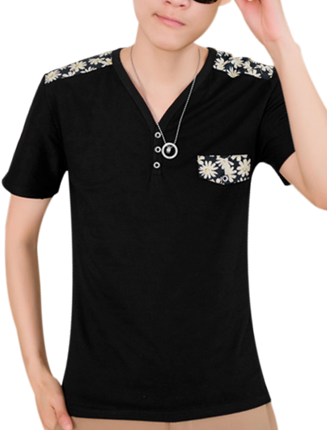 Men Y Neck Short Sleeve Floral Prints Pullover T-Shirt Black S
