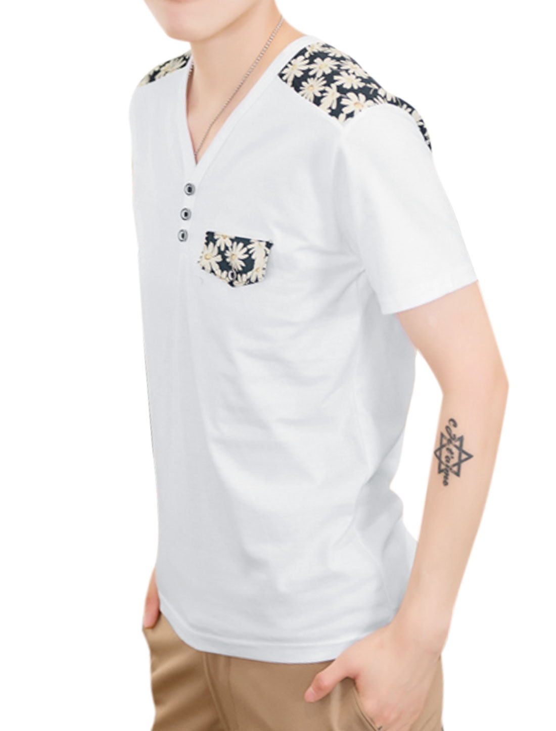 Men Y Neck Short Sleeve Floral Prints Leisure T-Shirt White S