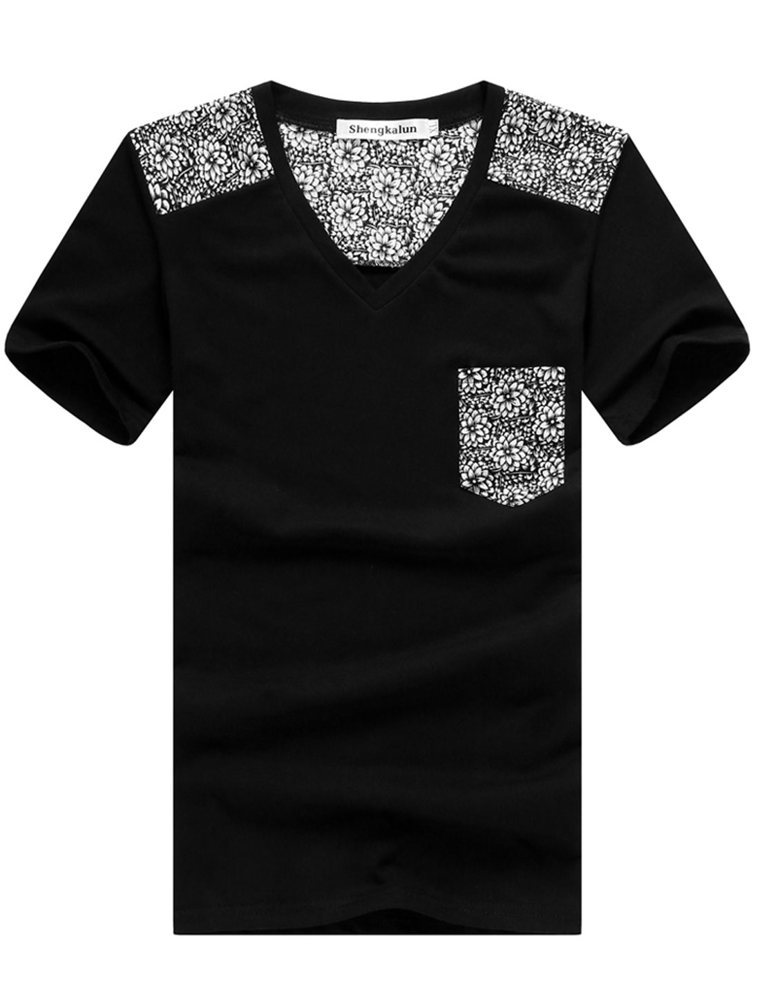 Men V Neck Short Sleeve Floral Prints Spliced Style T-Shirt Black S
