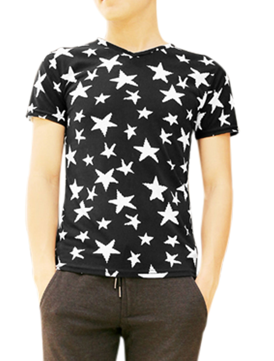 Men V Neck Short Sleeve Stars Prints Soft Tee Black S