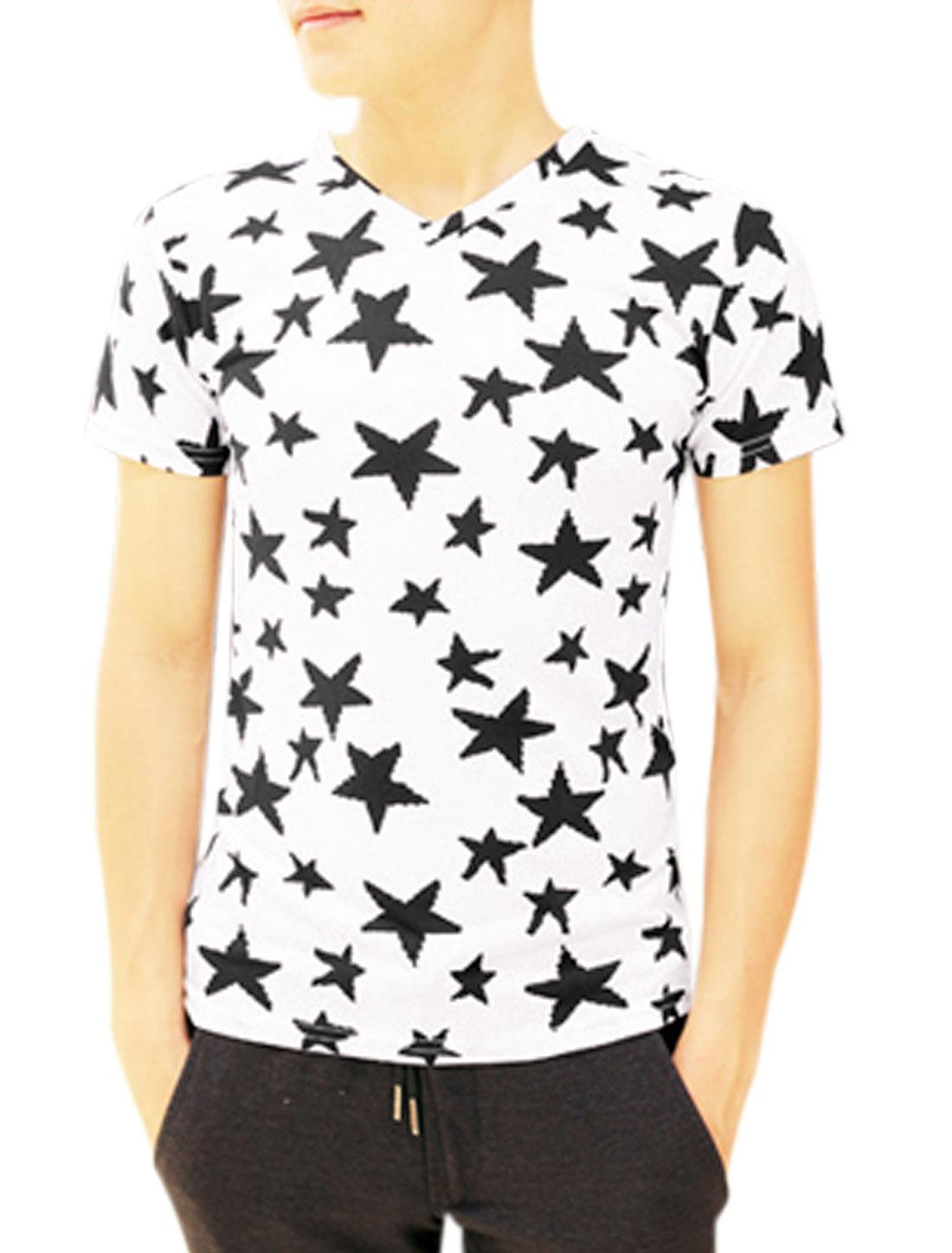 Men V Neck Short Sleeve Stars Prints Slim Fit Tee White S
