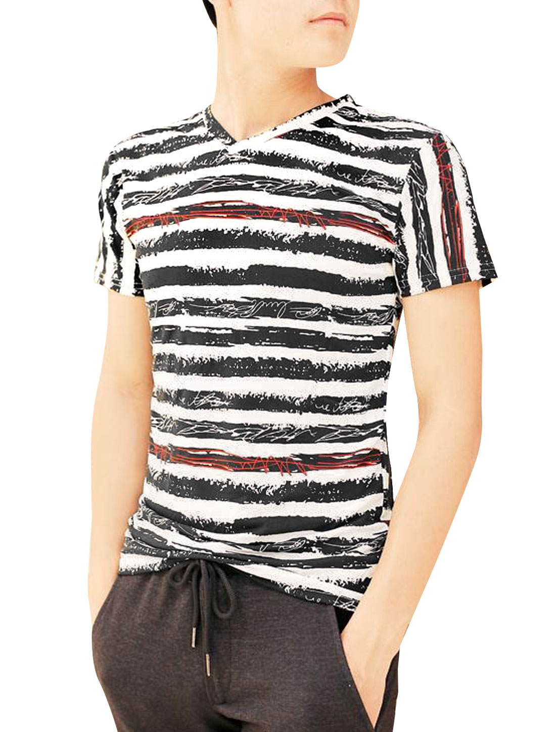 Men V Neck Short Sleeve Stripes Pattern Cozy Fit Tee Top Beige Black S
